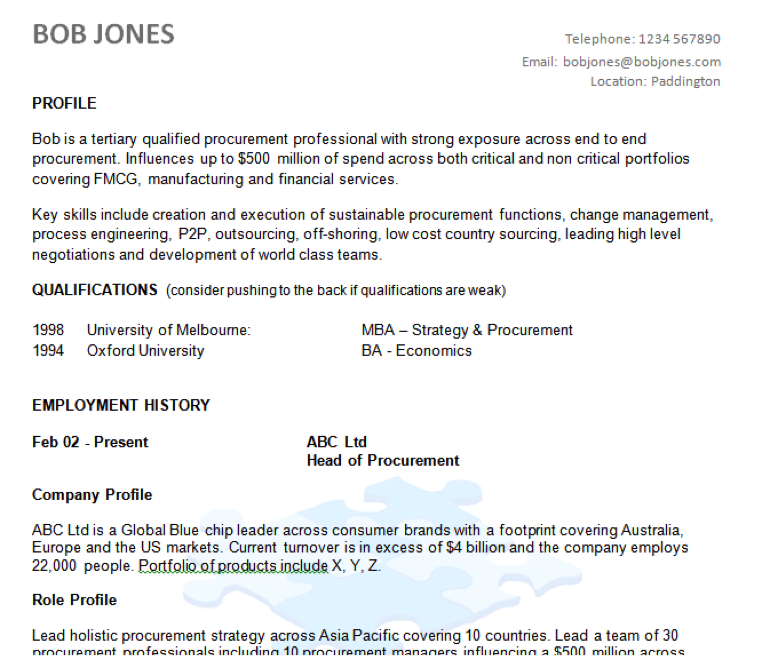 Example Resume Australia Australiance  How To Make A Cover Resume