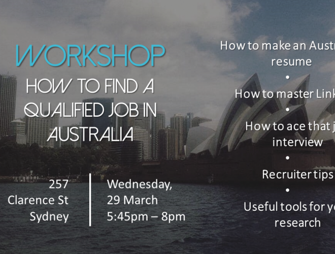 Workshop: How to find your dream job in Australia?