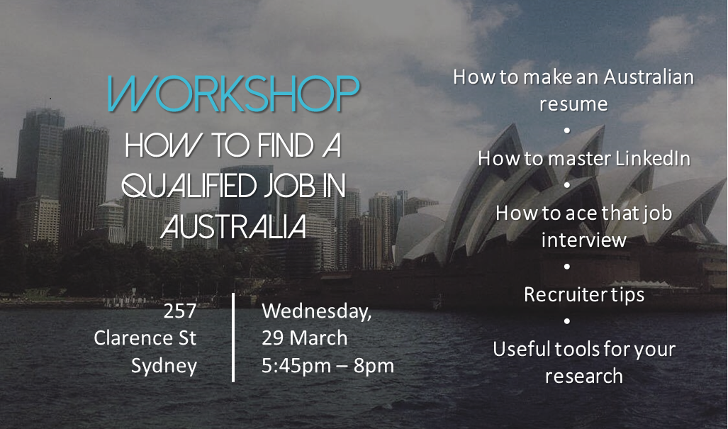 workshop how to find a qualified job in australia