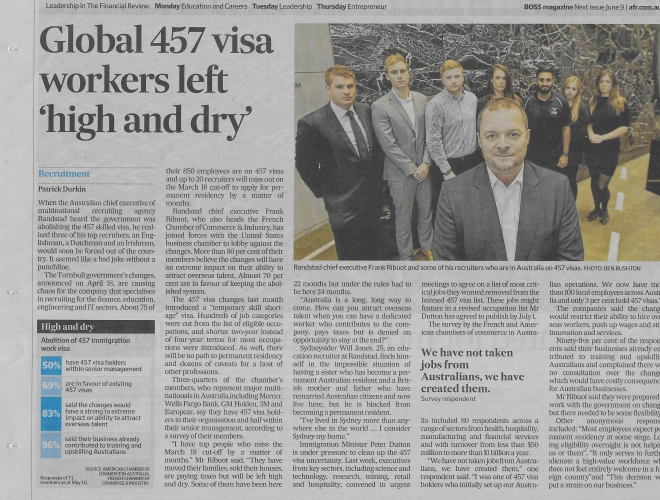 Abolition of 457 visa: French and American business leaders share concerns
